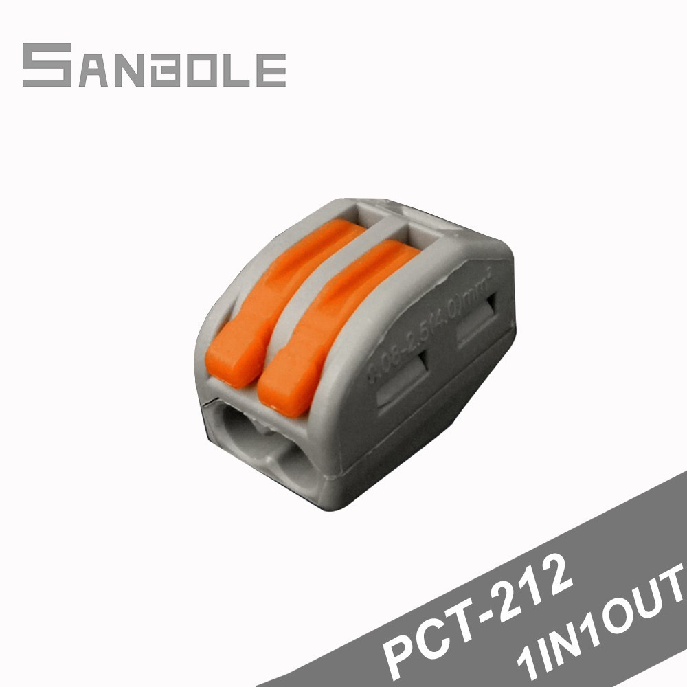 PCT 212 Terminal Block Connector Connection Box Wire Wiring Easy Fast Connect 2P terminals one in one out 100pcs in Terminal Blocks from Home Improvement