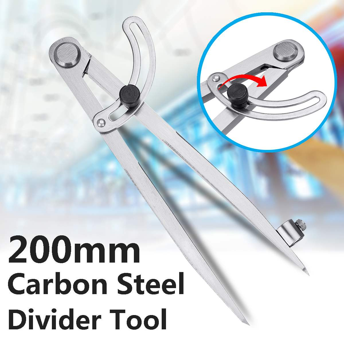 200mm Carbon Steel Wing Divider Pencil Marking Compass-Circle Maker Adjustable Scriber For Student CarpenterCraftsman Architect