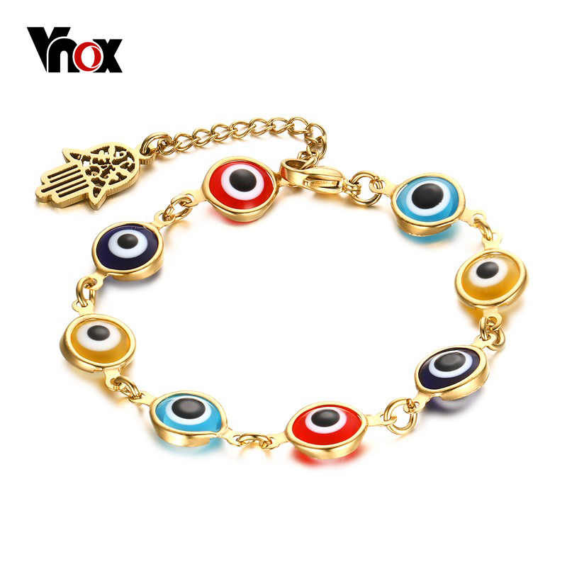 VNOX Evil Multi-color Eyes Bracelet Vintage Gold-color Hamsa Hand Bracelets for Women Adjustable