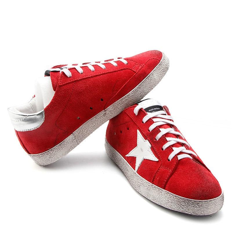 Rouge Sale Et Chaussures Up Mode Véritable Cuir Femmes Vache Vieux Faire Dentelle De Couleur Chaude Blanc En Vente Étoiles Xq67Y