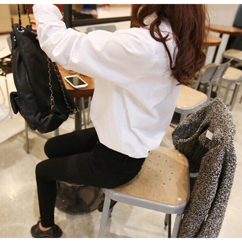 Women White Shirt Plus Size 2XL Women Fashion Solid Color Office Work Blouse 2019 Korean Lady Casual Ruffled Collar Pocket Tops in Blouses amp Shirts from Women 39 s Clothing