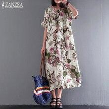ZANZEA Boho Midi Dress 2019 Summer Casaul Women Sundres Vintage Print Linen Dress  Female Sarafans Vestidos 1d4494f03582