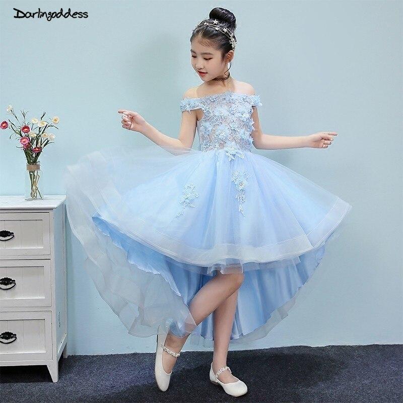 2019 Light Blue Off Shoulder Flower Girl Dresses for Weddings Lace High Low Pageant Dress for Girls Kids First Communion Dress