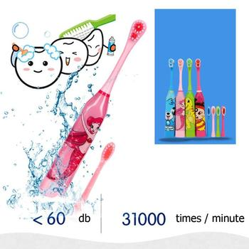 Children Electric Toothbrush Cartoon Pattern Double-sided Tooth Brush Electric Teeth Brush For Kids with 2pcs Replacement Head 1