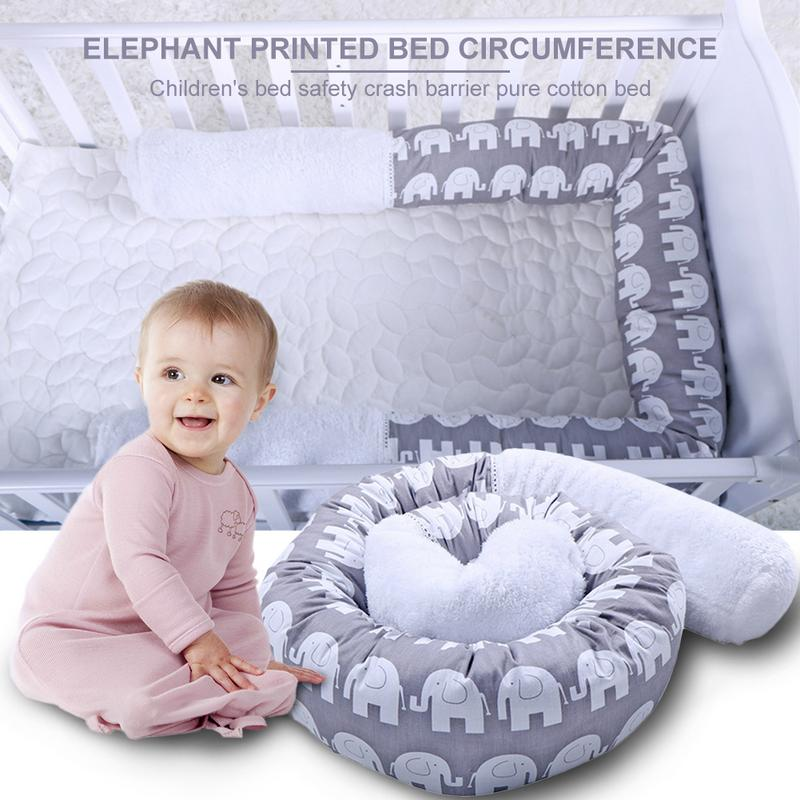 Baby Bed Thicken Bumpers One-piece Crib Around Cushion Cot Protector Pillows Safety Collision Barrier Cotton Pillow Stuffed Toy