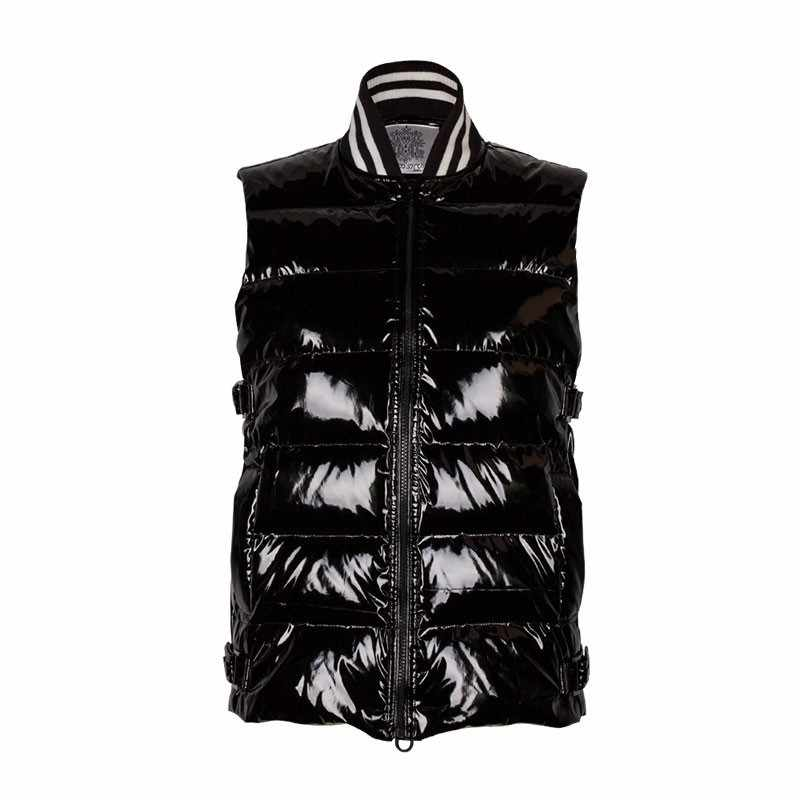 Winter Black Shiny Face Collar Down Puffer Jacket Vest Female 2018 New Thin Warm Slim Fashion Personality Coat Women Gilet HJ83