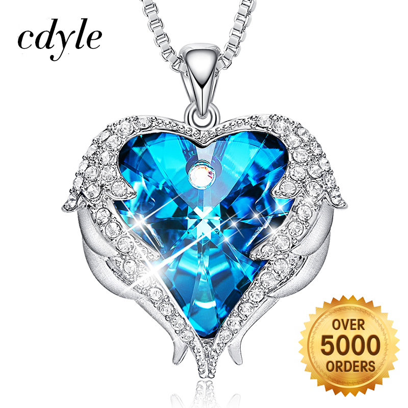 549974d98565 Cdyle Pendant Necklace Embellished with crystals Heart Necklace Women Angel  Wings Mothers Day Gift Mom Necklace