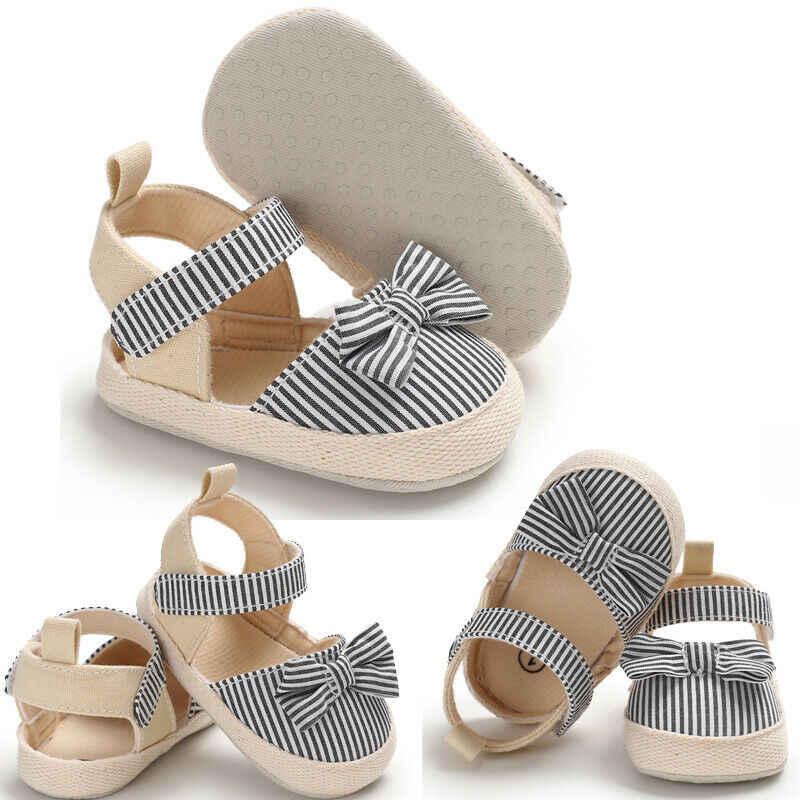 2019 kinder Sommer Schuhe Neugeborenen Baby Mädchen Jungen Weiche Krippe Schuhe Kleinkinder Anti-slip Sneaker Gestreiften Bogen Prewalker 0-18 M