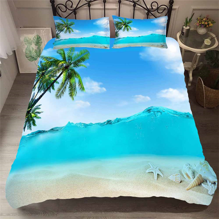 Bedding Set 3D Printed Duvet Cover Bed Set Beach Coconut Tree Home Textiles for Adults Bedclothes with Pillowcase #HL20-in Bedding Sets from Home & Garden
