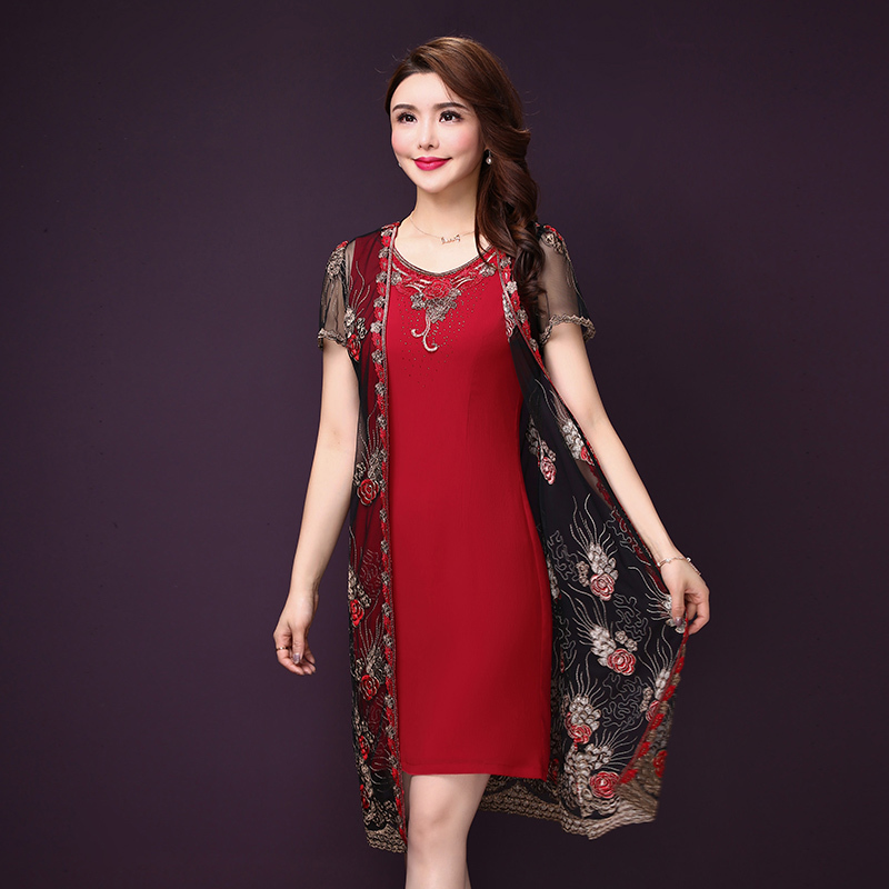 2019 Summer Spring 2 Pieces Set Dresses Women O neck Floral Embroidery Dress Elegant Lace A