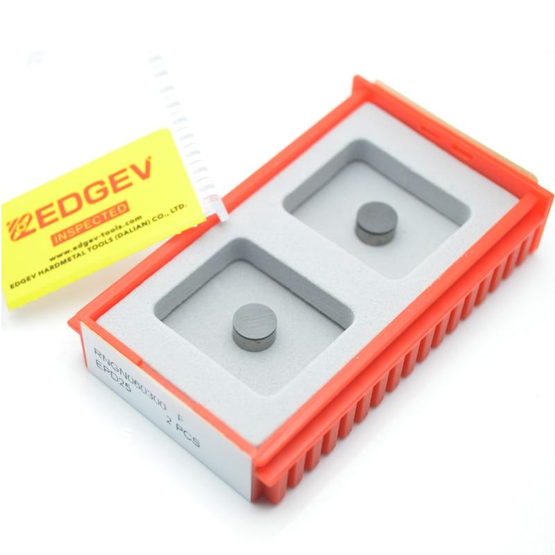 Купить с кэшбэком EDGEV 2PCS Full Face PCD Diamond Inserts RNGN0603 RNGN0903 RNGN0904 RNGN1203 RNGN1204 Round Turning Tools