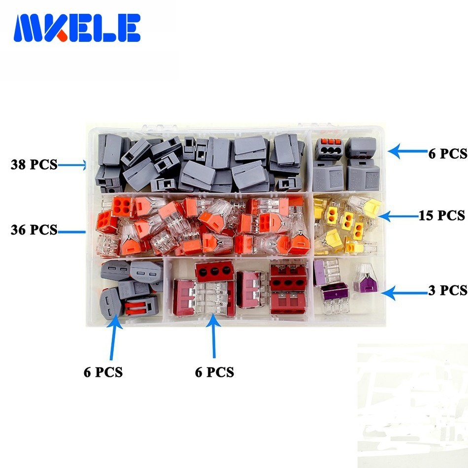 110PCS Wire Connector For 3 Room Mixed 7 Models Compact Suit Fast Wire Connector Mini Wiring Connector Conductors Terminal Block110PCS Wire Connector For 3 Room Mixed 7 Models Compact Suit Fast Wire Connector Mini Wiring Connector Conductors Terminal Block