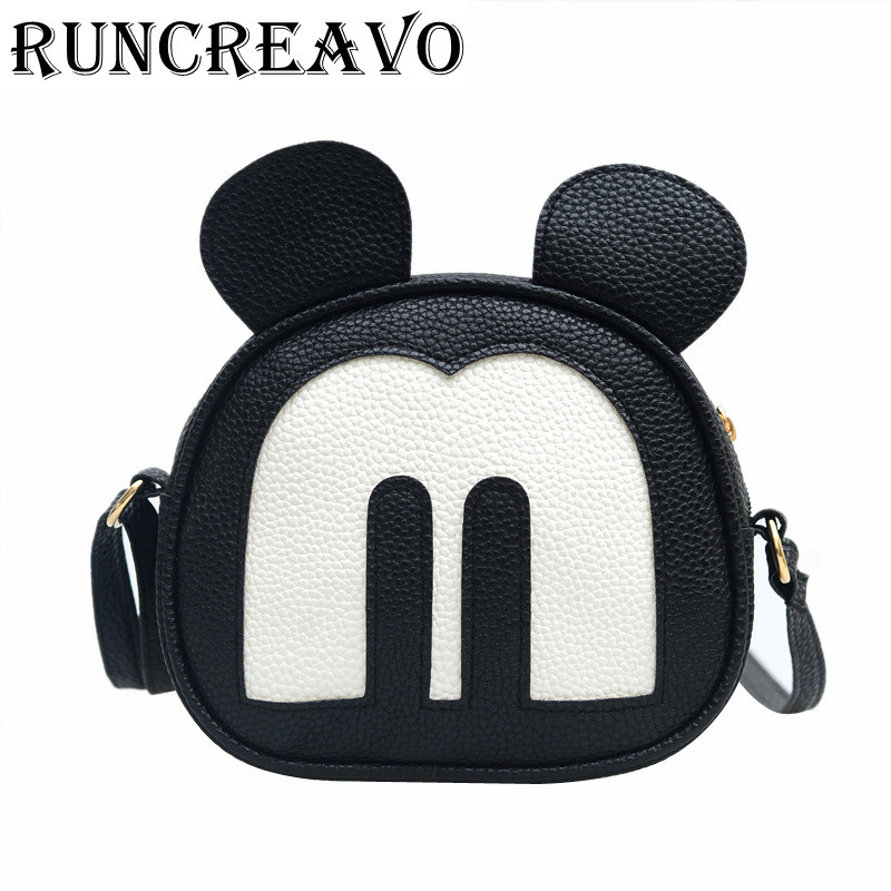 2018 New Cute Mickey Bags Fashion Women's Shoulder Messenger Bags Ladies Leather Handbags Famous Brands Females Crossbody Bags