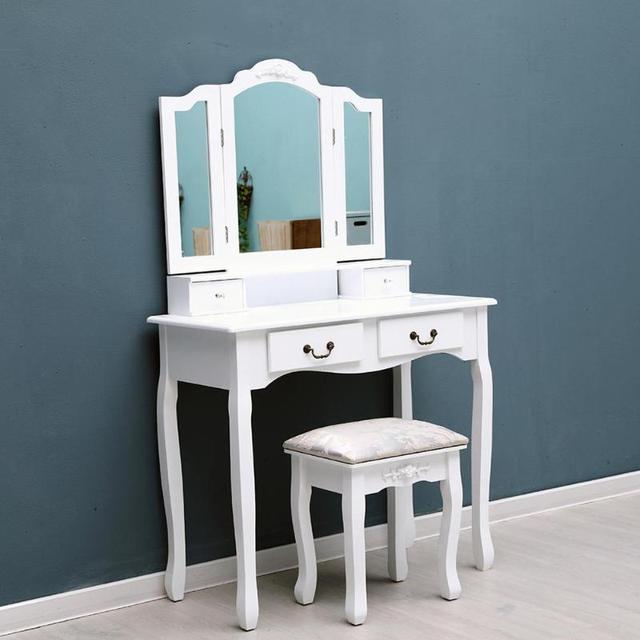 d7ef296ddc2 Espejo tri plegable 4 cajones muebles tocador Escritorio de maquillaje +  taburete para el hogar dormitorio