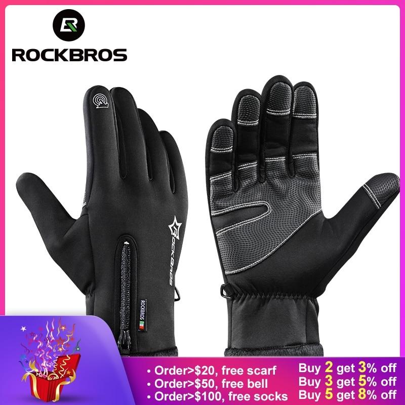 ROCKBROS Touchscreen Bike Handschuhe Winter Thermische Winddicht Warme Voll Finger Radfahren Handschuh Anti-slip Fahrrad Handschuhe Für Männer frauen
