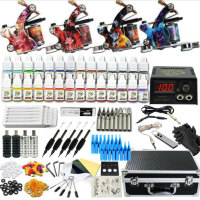 Tattoo Machine Set Tattoo Machine Power 110V 220V Automatic Conversion Tattoo Kit Full Ink Paint for Big Tattoo Body Art Maker