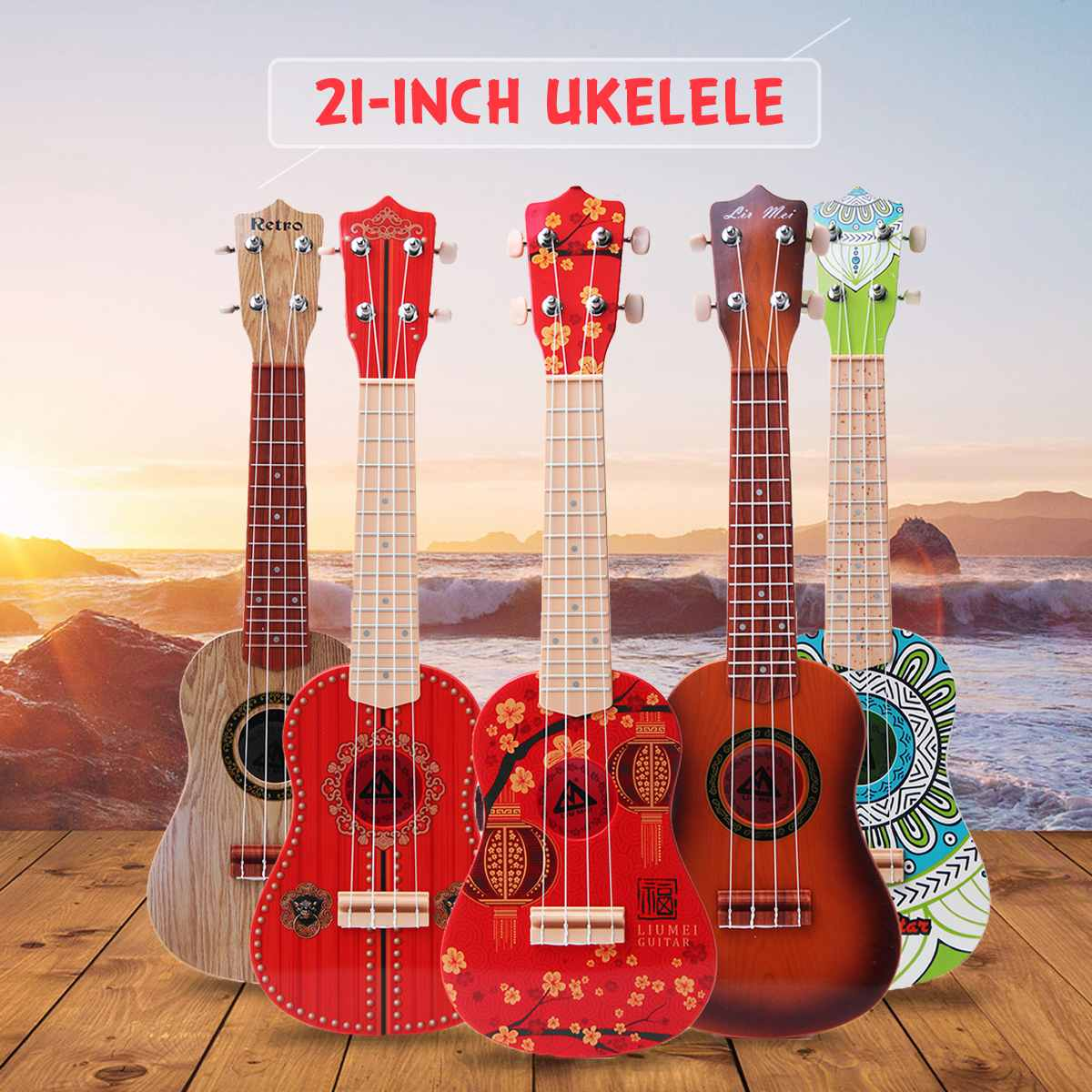 SENRHY 21 Inch 4 String Wood Guitar Ukulele Guitarra Musical Stringed Instrument Toy For Kids Children Play Educational GiftSENRHY 21 Inch 4 String Wood Guitar Ukulele Guitarra Musical Stringed Instrument Toy For Kids Children Play Educational Gift