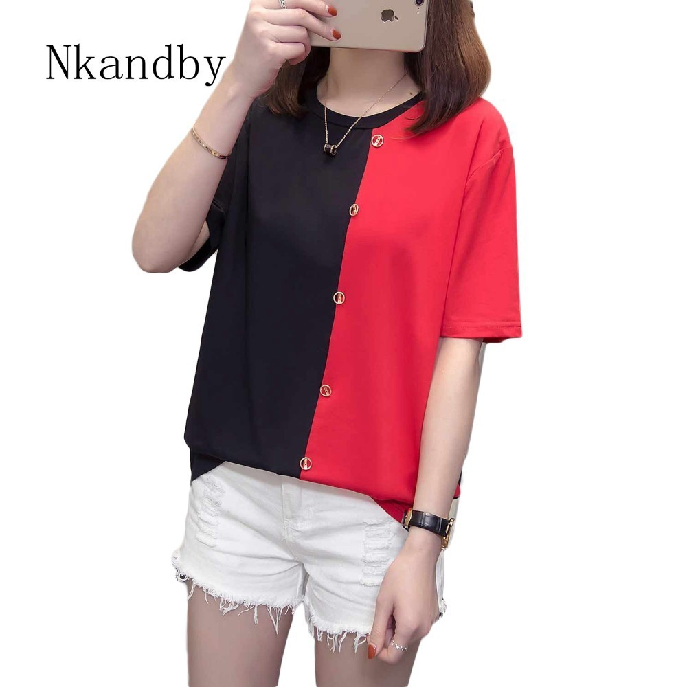 Patchwork Tshirt Women Casual Cotton Short Sleeve Ladies T Shirt 2019 Summer Korean Plus Size Loose Female Tops Tees Streetwear