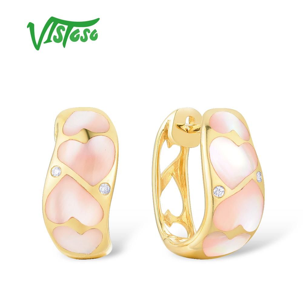 VISTOSO Gold Earrings For Women Pure 14K 585 Yellow Gold Pink Mother of Pearl Sparkling Diamond Wedding Engagement Fine Jewelry