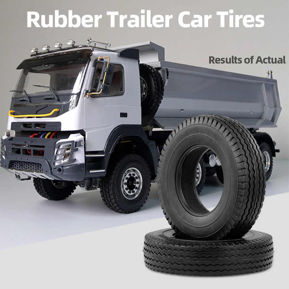 2 Pcs Trailer Mobil Ban Karet untuk 1:14 Tamiya Traktor Truk RC Climbing Bagian Trailer
