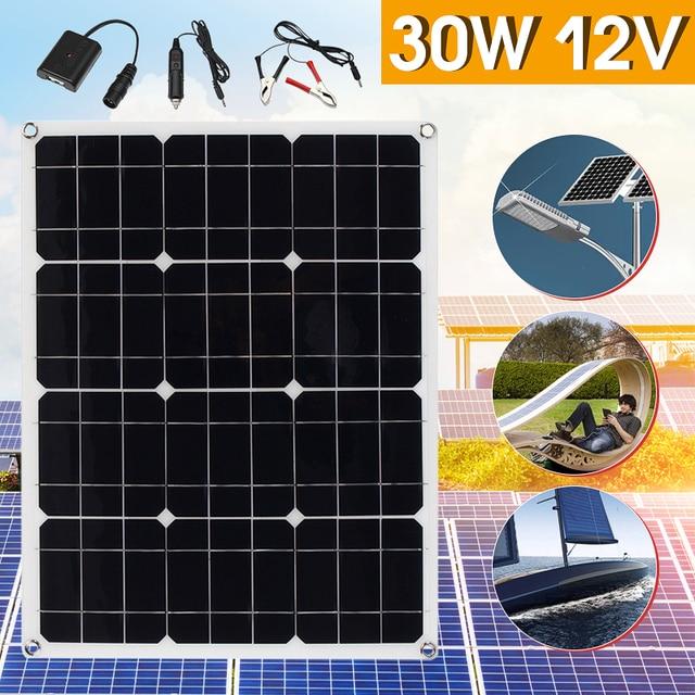 Hot Selling 30W 12V/5V DC Solar Panel Sunpower Battery USB For Phone Light Car Charger Waterproof Home Solar System