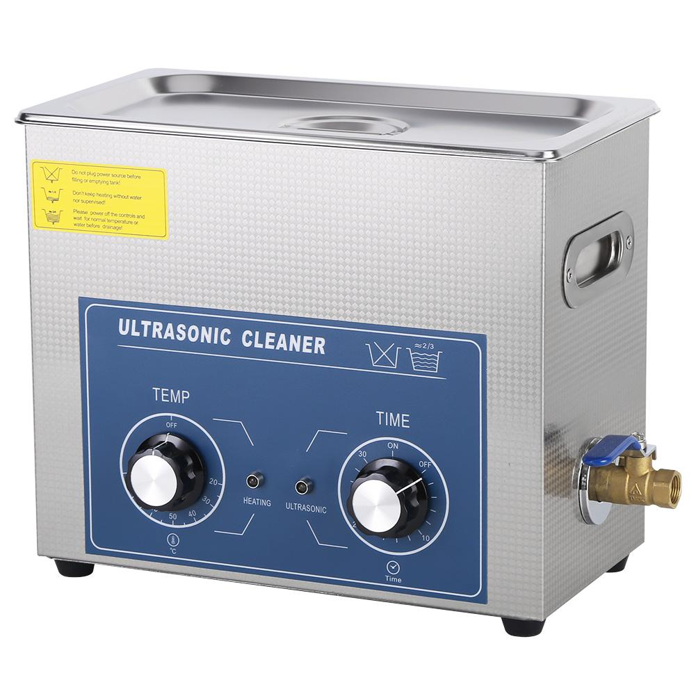 6L 220V Ultrasonic Cleaner Bath Heated Timer Stainless Steel Mechanical Cleaning Tank Machine with Basket For