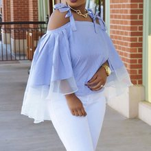 Summer Blue Off Shoulder Top Sexy Club Elegant Women Striped Casual Loose Plus Size Pleated Strapless Ladies Mesh Ruffle Blouse off shoulder pleated flowy top