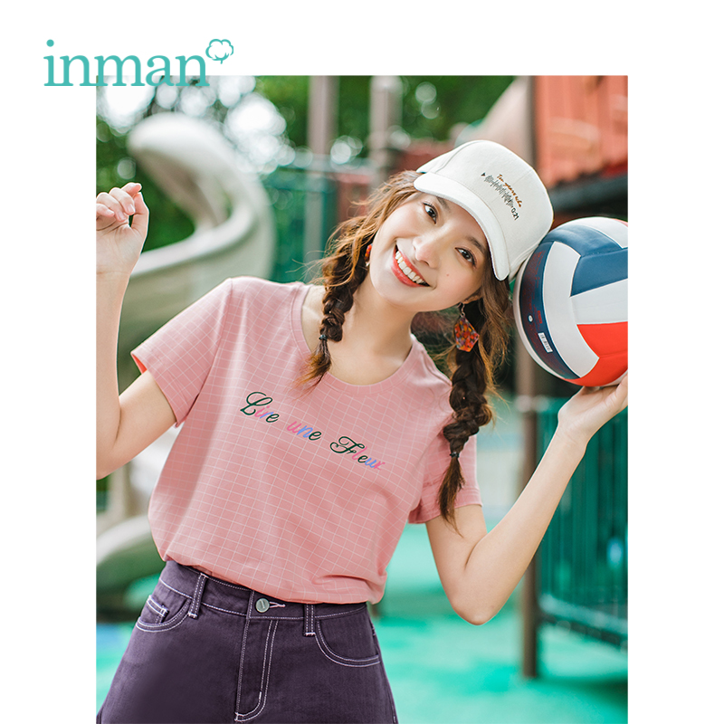 INMAN Summer O-neck Literary Plaid Loose Casual All Matched Slim Short Sleeves Women T-Shirt