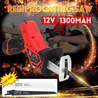 Rechargeable 12V 1300mAh Electric Reciprocating Saw Saber Convert Adapter Cordless Wood Metal Plastic Pruning Chainsaw Tool