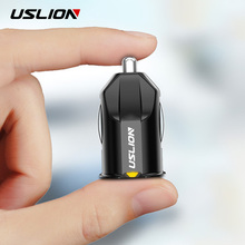 USLION Mini Dual USB Car Charger 2 Port Cigarette Lighter 12