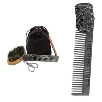 XY Fancy 4 Pcs/set Men Beard Care Kit Brush Comb Scissors Grooming & Trimming Kit 5