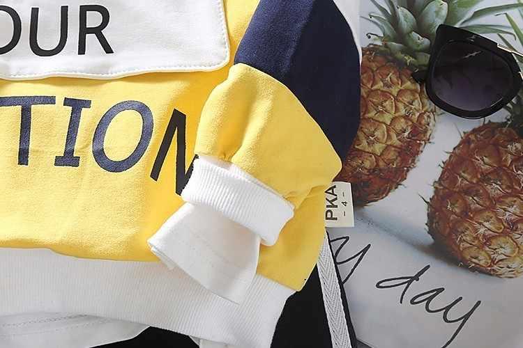 אביב סתיו תינוק ילד ילדה בגדי ילדי אופנה בגדי ילד כותנה פנאי ספורט חולצה מכנסיים 2 יח'\סט פעוט אימונית