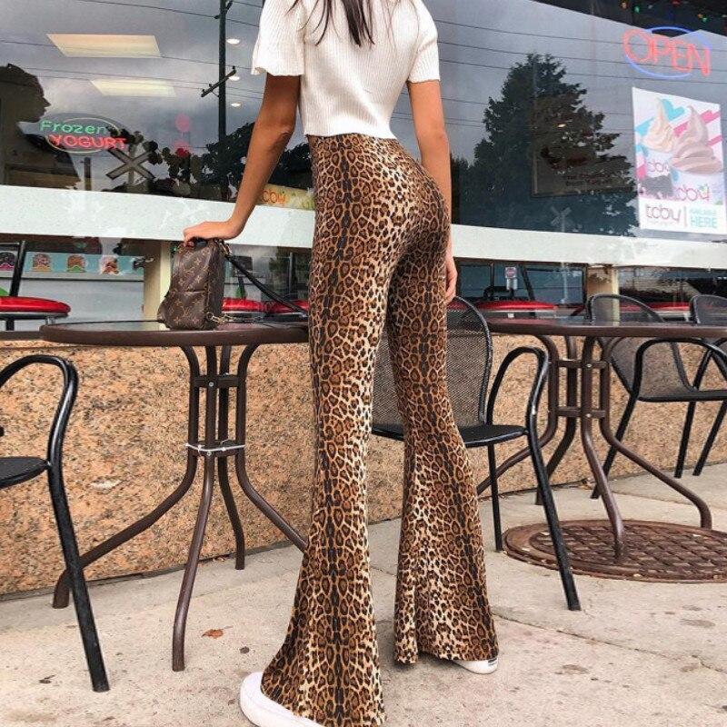 Flare Leggings Bell Bottom-Trouser Print Ladies Leopard High-Waist Plus-Size Women S-L