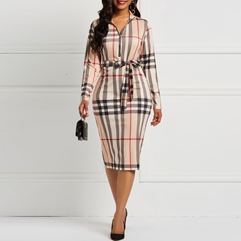 Clocolor Vintage Plaid Dress Autumn Winter Long Sleeve Plus Size Office Ladies Work Wear Sexy Party Deep V Neck Women Midi Dress clothing summer 2019 fashion trends