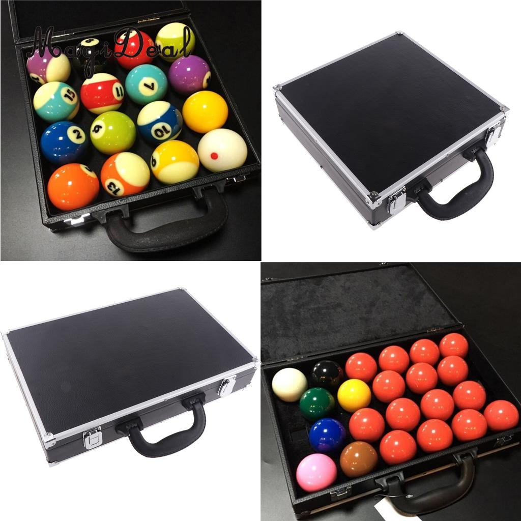 MagiDeal Professional Stainless Steel Snooker Ball Case Match Snooker Ball Travel Box Durable Snooker Black