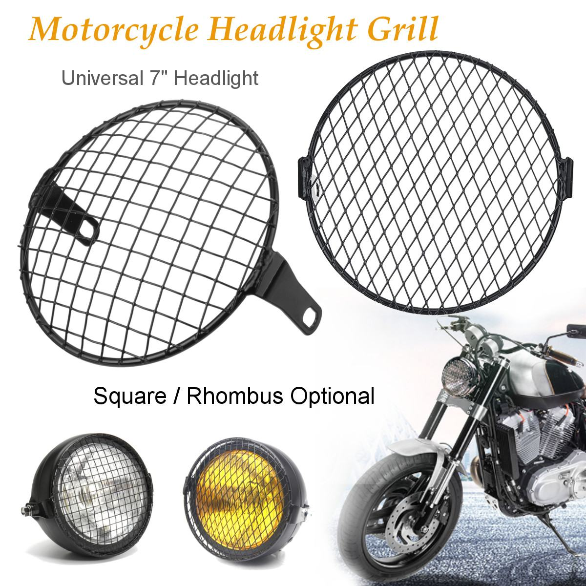 7inch Universal Motorcycle Front Headlight Lampshade Mesh Grill Mask Protector Guard Square/Rhombus Cover