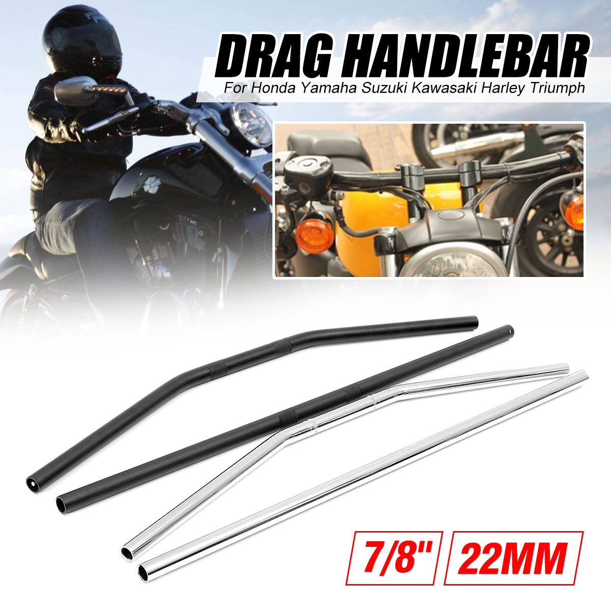 1pc New Motorcycle Handlebar 22mm 7/8inch Motorbikes handlebar Drag Straight / Curve Bar For Honda/Yamaha/Suzuki/Kawasaki/Harley1pc New Motorcycle Handlebar 22mm 7/8inch Motorbikes handlebar Drag Straight / Curve Bar For Honda/Yamaha/Suzuki/Kawasaki/Harley