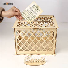 Wood DIY Wedding Keepsake Box Party Decor Gift Card Holder Wooden Money With Lock Carving Decoration