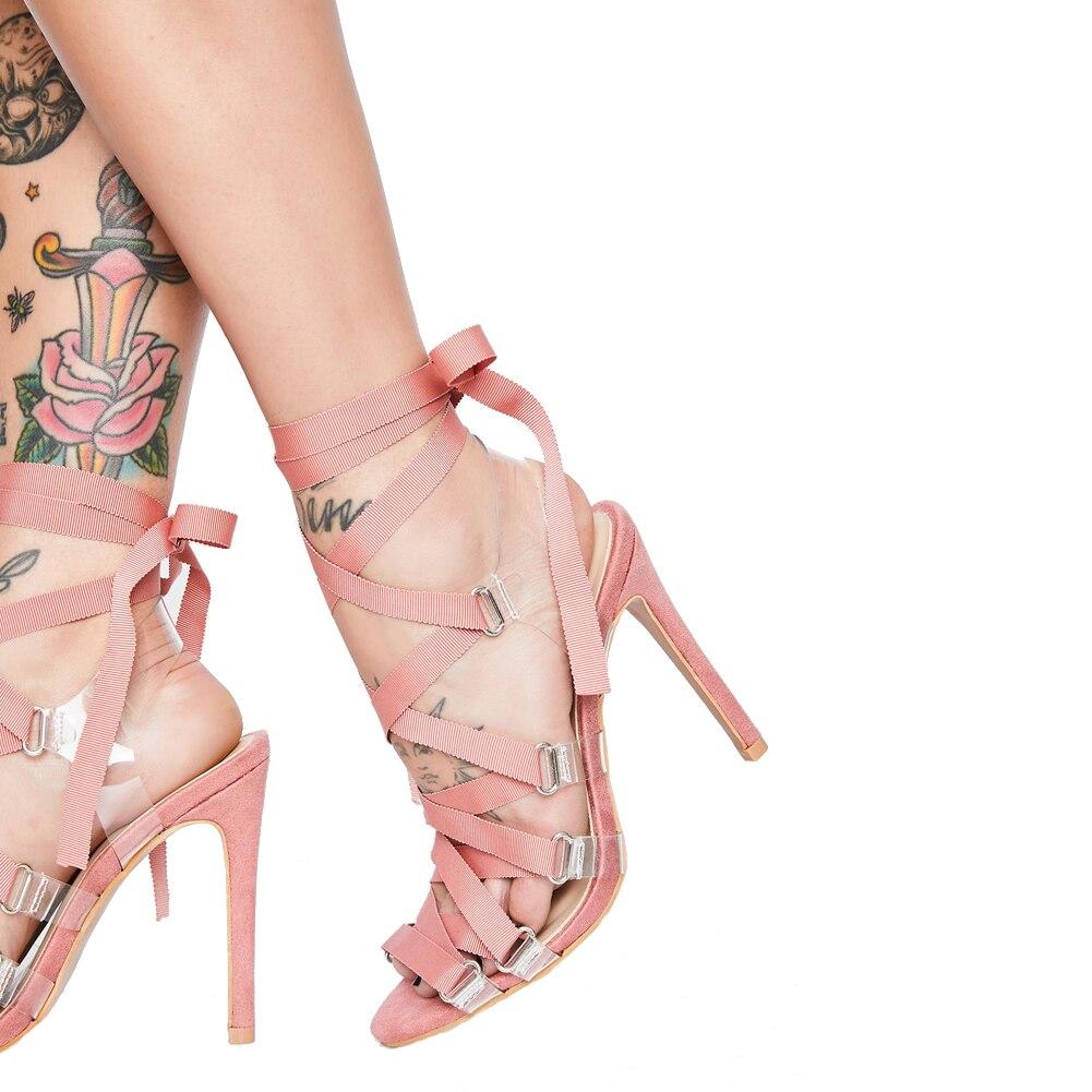 Offre spéciale Rose Noir Croix Sangle sandales femmes 2019 Date PVC Transparent Gladiateur Talon Sandales Chaussures D'été Femmes