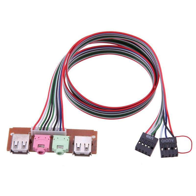 Câble Audio USB pour micro et écouteurs, cordon pour châssis d'ordinateur, panneau avant avec 2 Ports USB et prises Audio pour micro