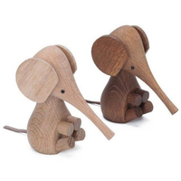 Nordic Design Animal Lovely Wooden Elephant Miniature Home Decor Figurines Table Decoration Kids Room