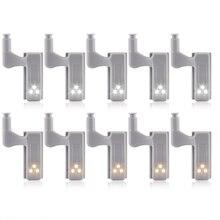 Lámpara con bisagra para armario interior, Sensor de armario, luz nocturna, para el hogar y la cocina, luz LED para debajo de gabinete Universal, 10 Uds.