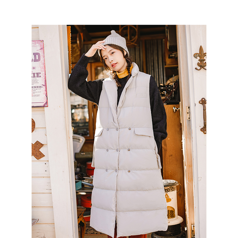 INMAN Winter New Arrival Female Lapel Warm Windproof Retro Long Section Woman Down Coat