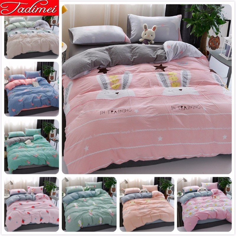 Pink Grey AB Double Side Rabbit Duvet Cover Bedding Set Adult Kids Girl Bed Linen Single Twin Queen King Size Bedspreads 150x200Pink Grey AB Double Side Rabbit Duvet Cover Bedding Set Adult Kids Girl Bed Linen Single Twin Queen King Size Bedspreads 150x200