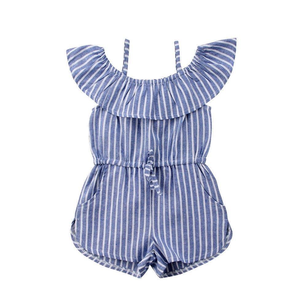 Toddler Baby Girls Kids Clothing Romper Striped Jumpsuit Summer Cotton Off Shoulder 1PC Playsuit 1-6Y