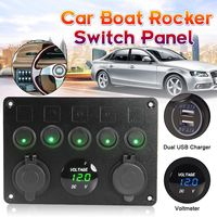 5 Gang 12V 24V Switch Panel Inline Fuse Car Auto Marine Boat LED Rocker Switch Panel Voltmeter Dual USB Power Charger Socket