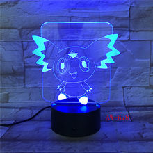 Digimon Action Figure 3D Lampu RGB Pikachu Eevee Turtle Burung Naga Api Pokeball Bola Bulbasaur Bay Hadiah Lampu Malam AW-678(China)
