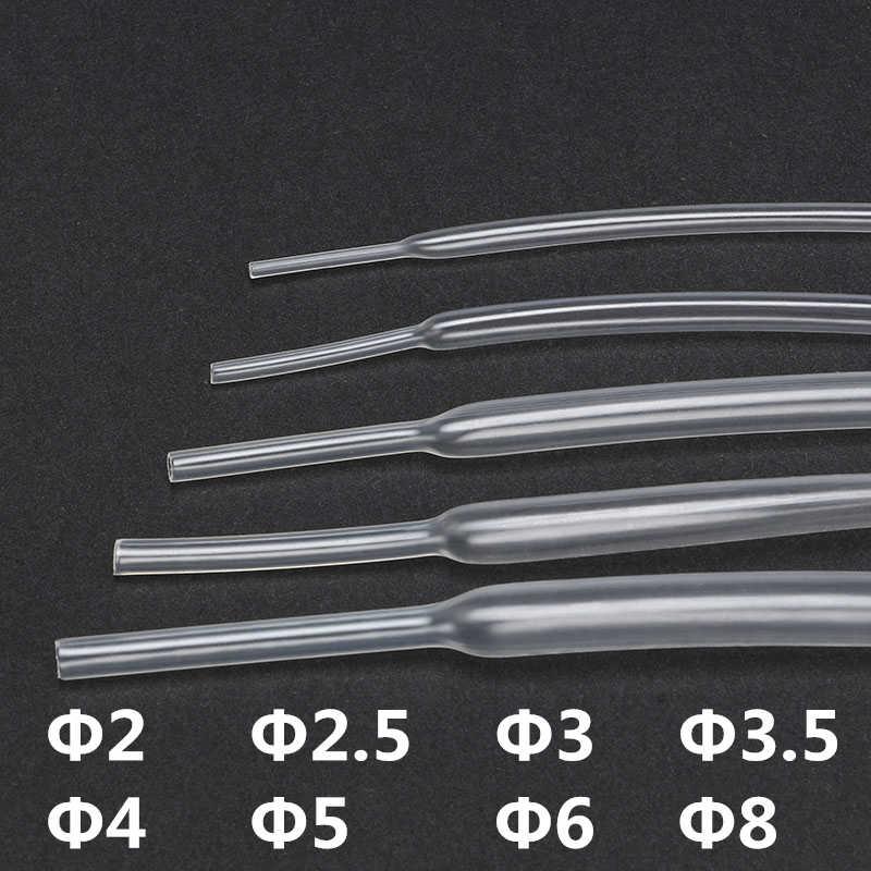 5pcs ความร้อน Contra แขนใส CLEAR 2:1 ท่อหดความร้อนหลอด 2/2.5/3/3 5/4/5/6/8 มม.ห่อลวด 600V (1 PCS = 1M)