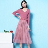 Nordic winds style women's fairy dress 2018 autumn new knitted stitching long pink dress for girls nw18c2833
