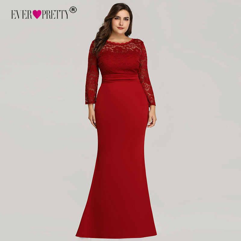 אי פעם די ערב שמלות ארוך 2019 שחור בת ים שרוול ארוך תחרה חורף סתיו סאטן אלגנטי ארוך המפלגה שמלות לחתונה